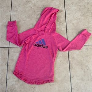 Girls Adidas Pink Heather Ruffle Hem Hoodie